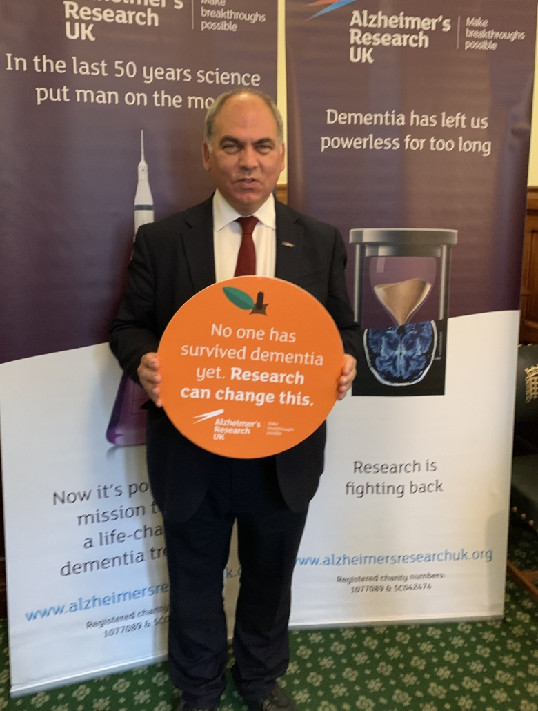 Bambos in Parliament with Alzheimer's Research UK