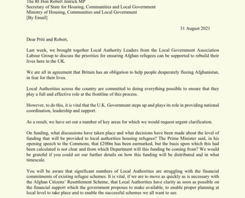 Labour Councils support for Afghan refugees